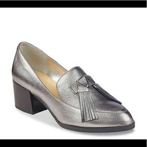 Silver Women's Loafers Heel Shoes Tassles